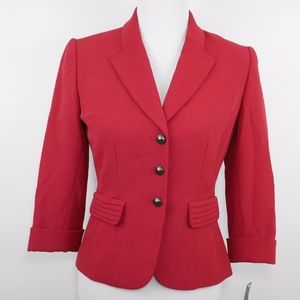 TAHARI ASL Red fitted 3 button blazer jacket NEW